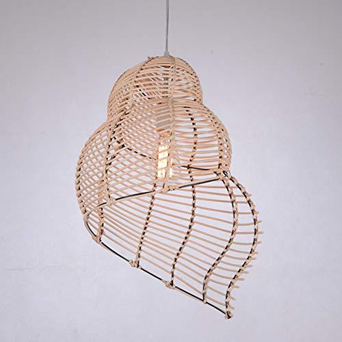 JPDD Kronleuchter Garten Muschel Lampe Kreative Tee Restaurant Mahlzeit Kronleuchter Bar Kaffeebar Rattan Lampe,Wood,30cm