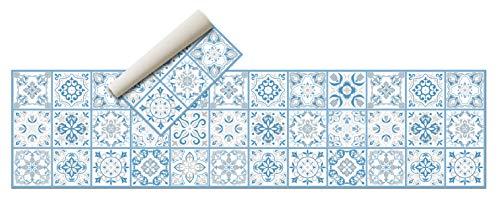 Alfombra Vinílica Hidráulica (240 x 60 cm, Azul) - Distintos Colores y tamaños - Alfombra Cocina- Alfombra baño - Alfombra Salón Comedor Antideslizante - Alfombra Dormitorio - Esponjosa y Suelo PVC