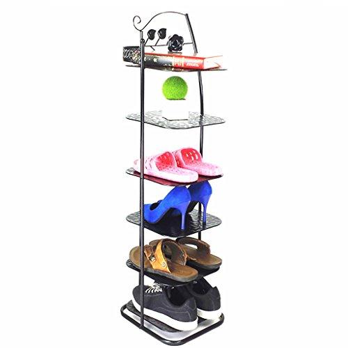 JJJJD 6 étagères en métal de Chaussure de rangée, Organisateur Debout de Stockage pour l'entrée de Coin de Balcon d'entrée de Bottes, 28 * 25 * 93cm (Color : Black)