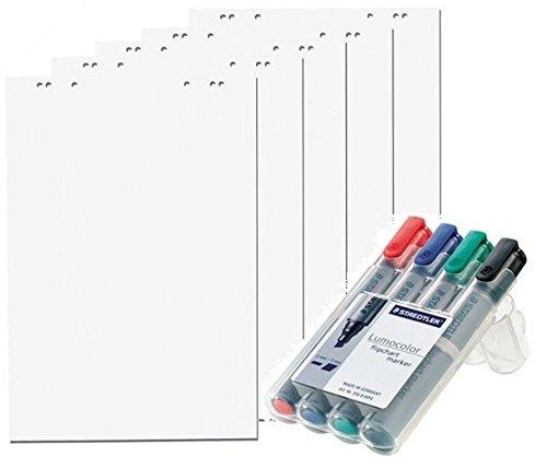 5x Flipchartblöcke + 4er Set Flipchartmarker, weiß Blanco, je Block 20 Blatt 69x99 cm, 6 fach Lochung, perforiert, Papier für Flipchart (5 Blöcke + Markerset 4er)