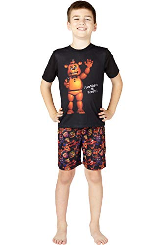 Five Nights at Freddys Mic Night Video Game Pajama 2pc Short Set, Black, 14