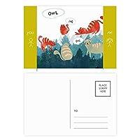 おしゃべりふくろうペットと動物の恋人を守る 友人のポストカードセットサンクスカード郵送側20個