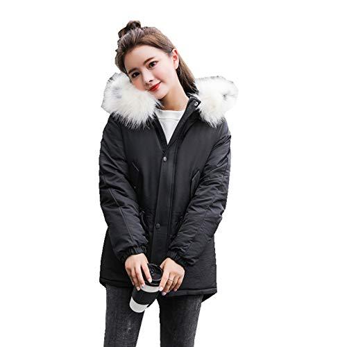 FQFQ Ropa de Invierno para Mujer, Chaquetas Cortas de algodón, Abrigos, Chaqueta con Capucha y Cuello de Piel Delgada para Mujer