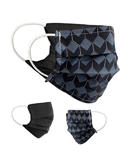 BaF Community Masken 2 per Pack Set Unisex Behelfsmaske Wendbar Mundschutz Maske Mund und Nasenschutz Wendemaske mit Motiv Baumwolle BCI Waschbar