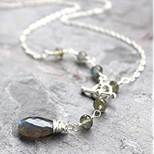 Labradorite Necklace Front Close Sterling Silver Gemstone
