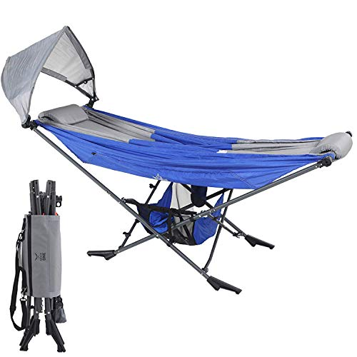 Mock ONE - Indoor Hammock Stand Portable Folding Self-Isolation In Style, All-Inclusive Design for Indoor, Patio, Garden, Home Recreation Activities, and Festivals, Blue/Gray