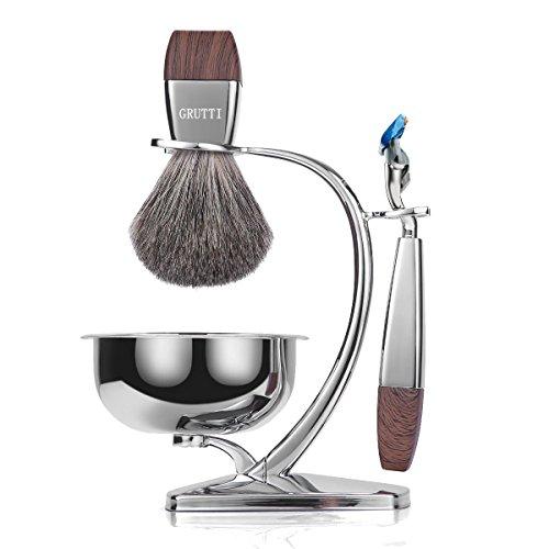 Juegos de regalo GRUTTI Razor para hombres, kit de afeitado manual con soporte resistente y tazón de jabón y brocha de afeitar y navaja Badger, compatible con Fusion 5