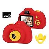 HALOVIE Kinderkamera Kinder Kamera, 2 Zoll Bildschirm 8MP 1080P HD Digitalkamera mit 32GB TF-Karte Gurt USB-Kabel, aufladbare Selfie Fotoapparat Videokamera Geschenk für Kinder Rot