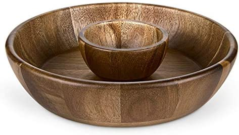 Miusco 10 Inch Chip and Dip Serving Set Premium Acacia Wood Plate with Sauce Bowl Appetizer product image