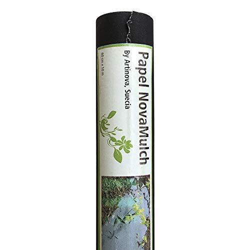 NovaMulch, Malla antihierbas de Papel Biodegradable 60cm x 10m - Control maleza Incluso juncia. para Invernadero, huerto y huerto Urbano. Se degrada y no Deja residuos