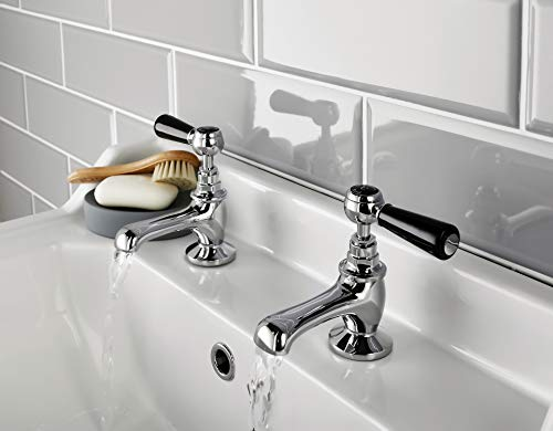 Hudson BC307HL Topaz Reed – Grifo monomando para lavabo (3 agujeros), color plateado