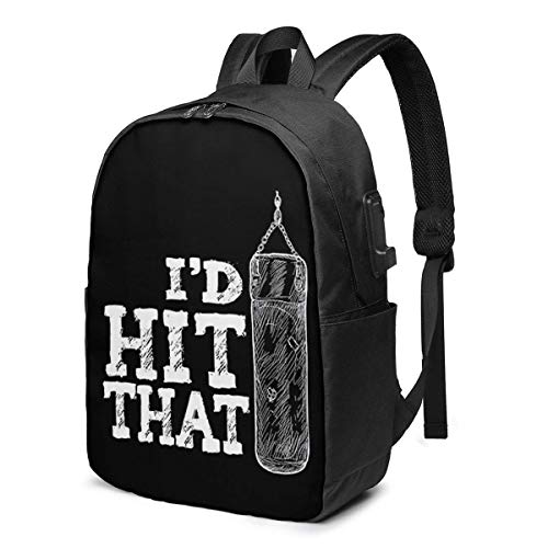 YTHH I'd Hit That Boxing Punching Bag Printed 17in Large Capacity Computer Laptop Bookbags College Bags with USB Charging Port School Backpack