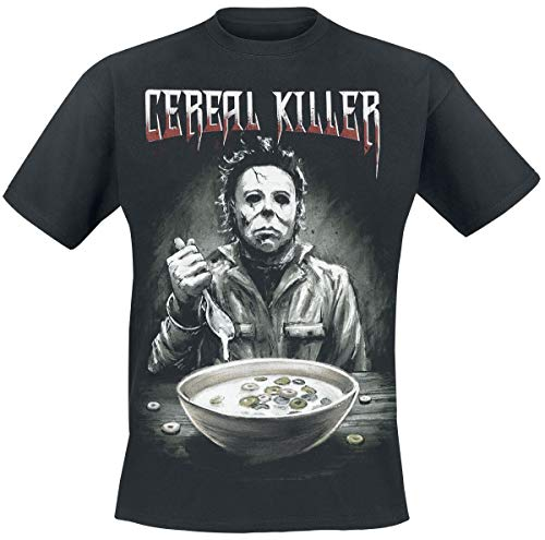 Halloween Michael Myers - Cereal Killer Hombre Camiseta Negro L, 100% algodón, Regular