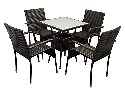 DEGAMO Bistroset PIENZA 5-teilig, 4X Stapelsessel und 1x Bistrotisch 60x60cm, Metall + Polyrattan schwarz, Tischplatte Glas