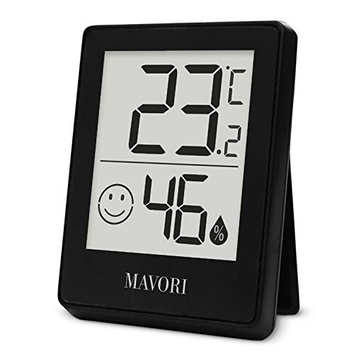 MAVORI® Thermometer Hygrometer digital | Temperaturmessgerät und Luftfeuchtigkeitsmessgerät innen mit Raumklima-Indikator | Raumthermometer und Hydrometer mit präzisen Messwerten