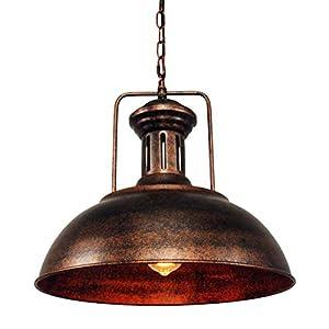 Lingkai Industrial Pendant Light, Plug in Hanging Pendant Lighting for Kitchen Island Dining Room (1 Light, Rusty)