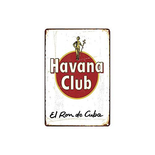 Havana Club /Étain Mur Signe Affiche de Fer M/étal Mur /étain Panneau Attention Plaque R/étro d/écoration Murale pour Caf/é Bar H/ôtel Jardin Parc