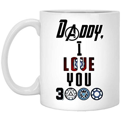 N\A Fan de Ironman Papa I Love You 3000 Taza de café - Regalo Blanco para el Padre Abuelo Hermano Tío en el día del Padre Día de la Independencia Halloween Aniversario de Bodas Día de San