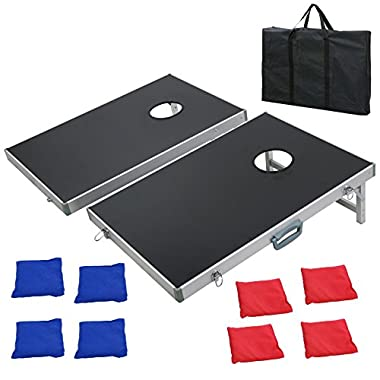 F2C Portable Foldable Aluminum Framed Bean Bag CornHole Toss Game Set Boards 3FT2FT/4FT2FT with 8 Bean Bags and Carrying Case