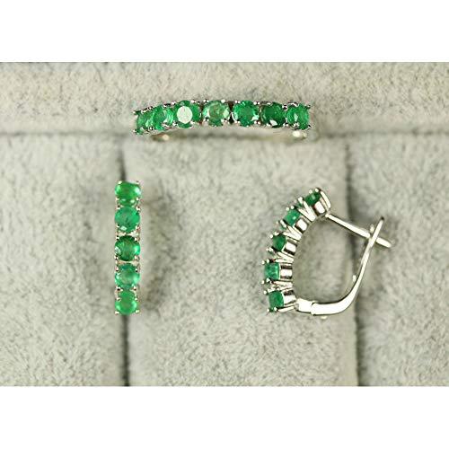 Conjunto de Joyas de aretes de Anillo de Piedras Preciosas Redondas de 3 mm con Esmeralda de Plata esterlina para Mujer