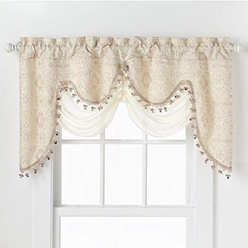 GoodGram Ultra Elegant Clipped Jacquard Georgette Fringed Window Valance with an Attached Sheer Swag Assorted Colors (Beige)