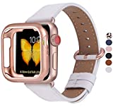 JFdragon Watch Bands with Case Compatible with Apple Watch 38mm 40mm 42mm 44mm Women Men Girls Boys Genuine Leather Strap for iWatch SE Series 6 5 4 3 2 1(White/Rose Gold, 38mm/40mm S/M)