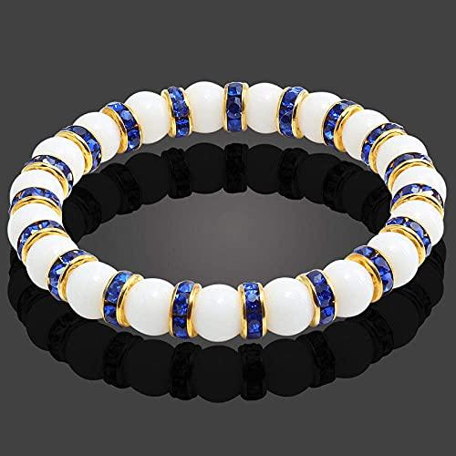 Pulsera de cuentas, oro, azul, color de taladro, piedra natural, chakra, pulsera elástica, mujeres, hombres, porcelana blanca, cuentas de equilibrio, pulsera de reiki para yoga, meditación, regalo par