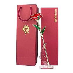MINGZE 24K Gold Rose, Ewige Rose Handgefertigt Konservierte Rose mit Stand und Geschenkbox für Frau Freundin Muttertag Valentinstag Geburtstag Hochzeitstag Weihnachten Künstliche Echt Rose
