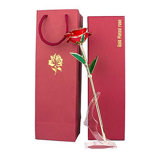 MINGZE Rosa de Oro 24K, Rosa Eterna Flores Chapadas en Oro con Base Soporte Transparente y Caja de Regalo, para Día de San Valentín el Día de Madre Mujer Novia Esposa Aniversario Cumpleaños Regalo