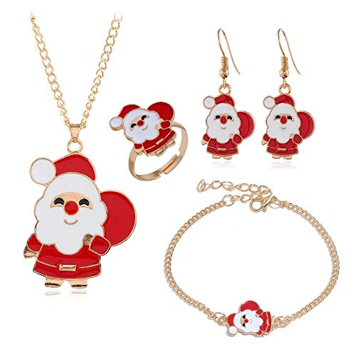 Women's 4 Piece Christmas Jewelry Sets - Includes Earrings, Necklace, Bracelet and Ring (Santa Claus)