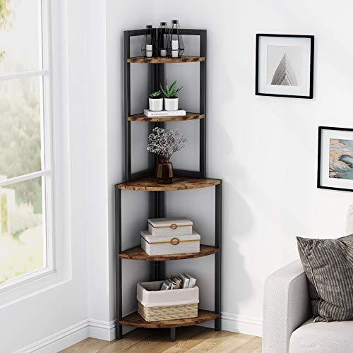 Estantería de esquina para almacenamiento, estantería para libros, estantería para plantas, unidad organizadora de 5 niveles industrial para el hogar, sala de estar, dormitorio y balcón by Tribesigns