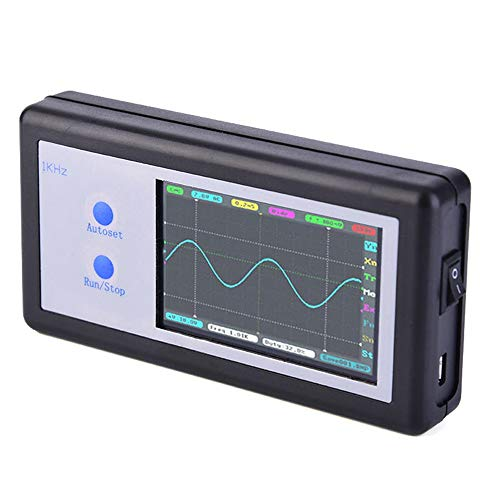 NO BRAND Osciloscopio Digital 200 KHz 2 Ch Mini portátil de tamaño de Bolsillo portátil de Panel táctil LCD del osciloscopio Digital (Color : Negro, tamaño : Un tamaño)