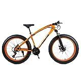 DRAKE18 Fat Bike Cross Country Mountain Bike 26 Pulgadas 24 velocidades Playa Nieve montaña 4.0 Grandes neumáticos Adultos al Aire Libre,Orange