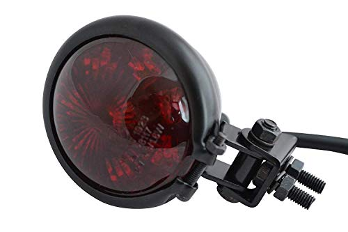 Moto Stop LED Luz Trasera - Homologado - Brillo Negro con Rojo Lente para Cafe Racer, Scrambler, Proyecto Personalizado