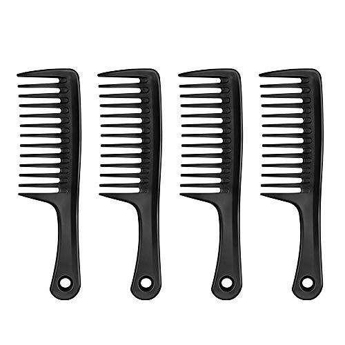Entwirrung Kamm 4 Stück Grobe Zahnung Kamm mit Rund Griff,Antistatischer Styling Haar Kamm Breite Haarbürste Griffkamm zum Entwirren für Dicke Lange Frisuren (Schwarz)