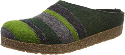 HAFLINGER Stripes Grizzly, Pantofole Donna, Verde (Eibe 63), 42 EU