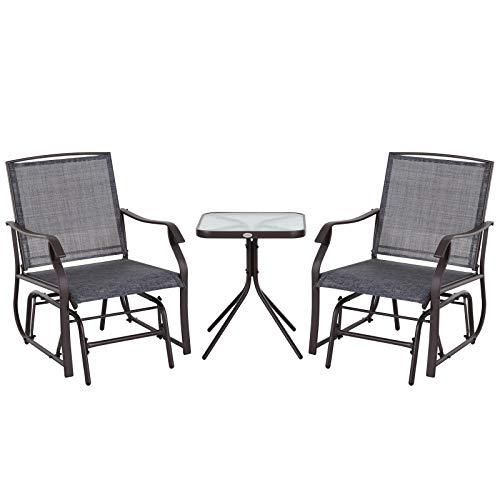 Outsunny Gartenmöbel Set, Dreiteilige Sitzgruppe, Sitzgarnitur, 2 Stühle, 1 Tisch, Stahl Grau 62,5 x 72 x 92 cm (Stuhl), 50 x 50 x 60 cm (Tisch)