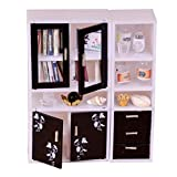 yunyu Meubles de Maison de poupées, 1/12 Maison de poupées Meubles Miniatures vitrine bibliothèque Chambres décor