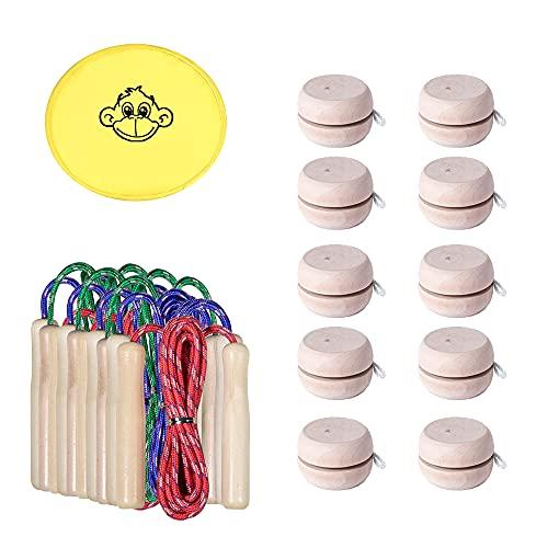 Partituki Pack de 10 Yoyos de Madera Natural, 10 Cuerdas para Saltar con Mango de Madera y un Frisbee. Ideal para Juegos al Aire Libre y Detalles de Cumpleaños Infantiles