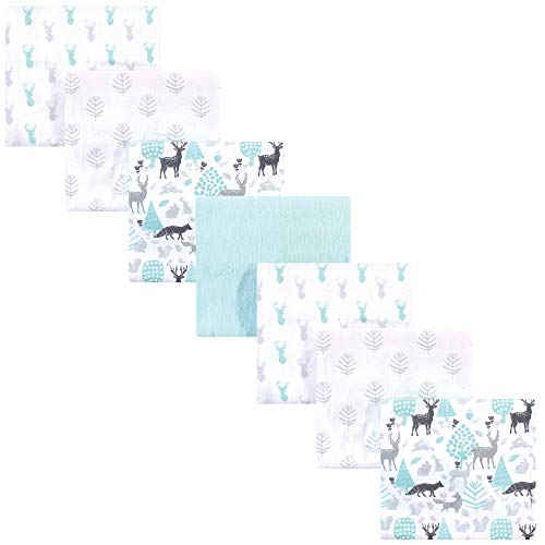 Hudson Baby Unisex Baby Cotton Flannel Receiving Blankets Bundle, Linocut Woodland Neutral, One Size