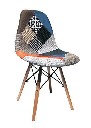 ST012 Beat Patchwork-1 Silla patas madera tapizada tejido patchwork estilo nórdico para comedor, co