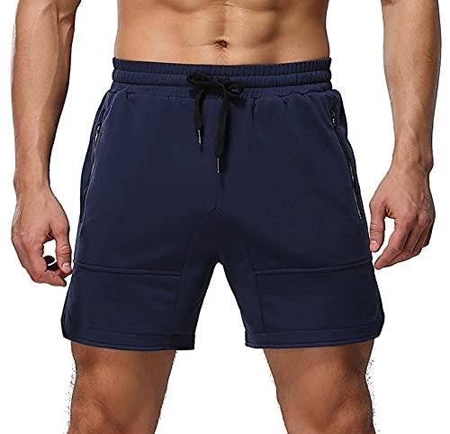 Aimeilgot Mens Shorts Casual Elastic Waist Athletic Gym Summer Beach Shorts with Pockets(Navy Blue,Medium)