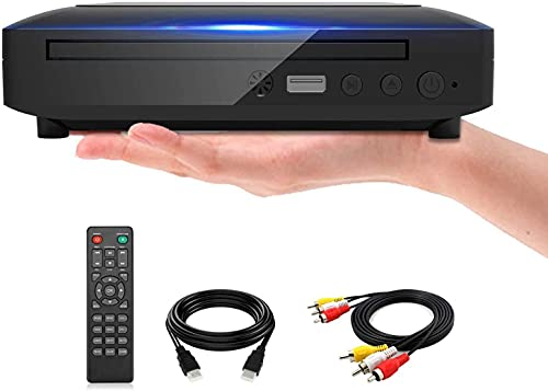 Mini DVD Player for TV, Region Free HD 1080P Supported with HDMI AV Cables , USB Input, Contain Remote Control for DVD Player, Support PAL NTSC System