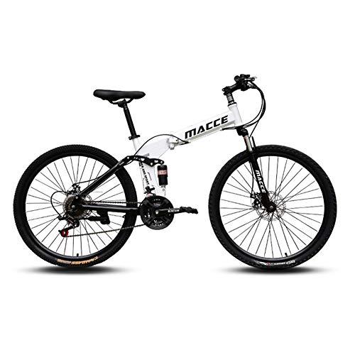 SSQIAN Pieghevole Mountain Bike Pieghevole Bicicletta da velocità per Uomo E Donna Bicicletta Smorzata Sospensione Completa Freno A Doppio Disco Coda Morbida Acciaio al Carbonio,White,24 Speed