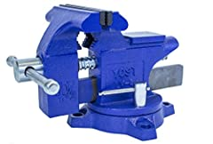 """Home Work Shop Vise, woodworking, assembly, general maintenance. Jaw width: 4-1/2"""" (11.4CM) x Jaw opening: 3"""" (7.6CM) x Throat depth: 2.4"""" (6.1CM) Holds 0. 6"""" D to 1. 85"""" D pipes and tubes (1. 5CM x 4. 7CM) 30, 000 PSI cast iron construction, blue po..."""