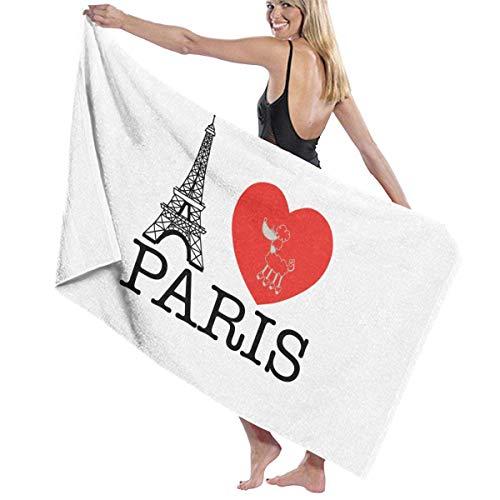 asdew987 Toallas de playa I Love Paris Toallas de baño para adolescentes niñas adultos toalla de viaje toalla de 31 x 51 pulgadas