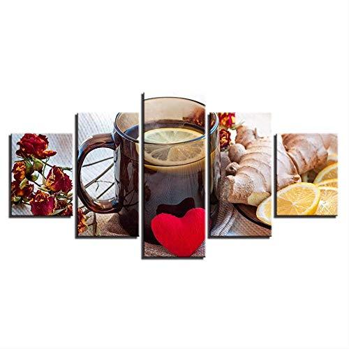 Canvas schilderij voor keuken wandkunst 5 stuks fruit gember citroen thee poster HD prints foto's Home restaurant decor lijst 40x60cmx2,40x80cmx2,40x100cmx1 No Frame