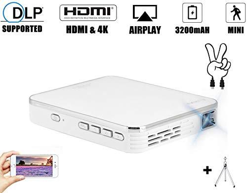 Mini proyector de 2000 lúmenes, 4K DLP 854 x 480p Multimedia Vídeo Proyector Cine en Casa Portáti con entrada HDMI para video/película/juego para sistema Android/iOS - Blanco 100-240V(EU Plug)