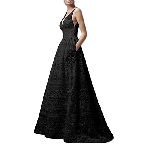 Dicomi Damen Festlich Hochzeit Kleider Elegant Lang Abendkleid V-Ausschnitt Ärmellos A-Linie Cocktailkleid Maxikleid Partykleid Schwarz 2XL