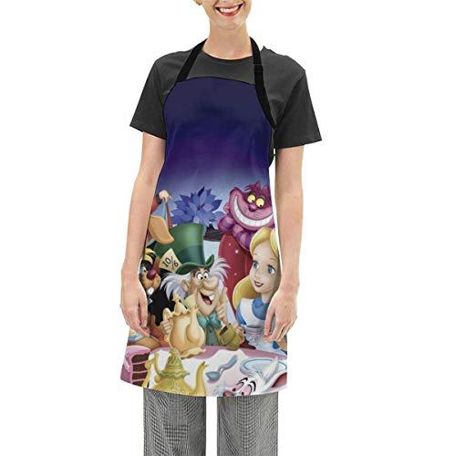 Alice nel Paese delle Meraviglie Grembiule Impermeabile da Cucina per Donna Uomo Regolabile Facile da Usare Grembiule da Cucina Bavaglino 28,3 x 25,6 Pollici